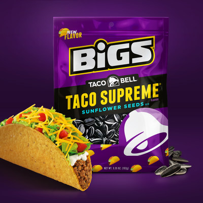 BIGS ® Taco Bell Taco Supreme Sunflower Seeds, which will debut in retail locations in April 2018, combine BIGS fire-roasted, USA-grown sunflower seeds with the spicy taco flavor and signature crunch associated with the nation's leading Mexican-inspired quick service restaurant.