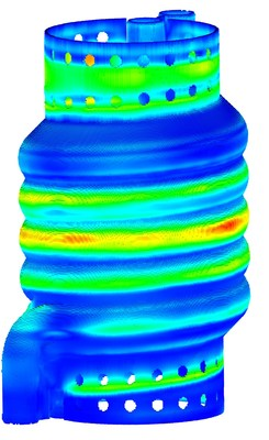 Simulation results from ANSYS Additive Print showing displacement for a heat exchanger part