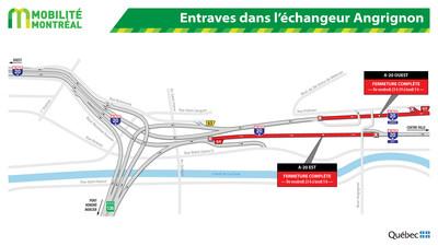 Entraves dans l'échangeur Angrignon (Groupe CNW/Ministère des Transports, de la Mobilité durable et de l'Électrification des transports)