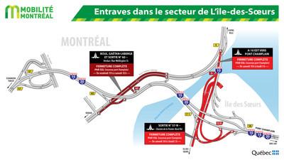Entraves dans le secteur de L'ile-des-Soeurs (Groupe CNW/Ministère des Transports, de la Mobilité durable et de l'Électrification des transports)