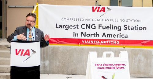 VIA President and CEO Jeffrey C. Arndt leads the dedication of VIA Metropolitan Transit's new 10,980 square foot Compressed Natural Gas (CNG) fueling station, the largest in North America.
