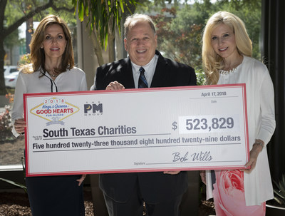 Bob Wills, center, founder and CEO of The PM Group, wife Peggy Wills, left, and Fran Yanity, right, president and COO of The PM Group, pose during a press conference held to award more than five hundred thousand dollars in donations to fourteen area nonprofit organizations, Tuesday, April 17, 2018, in San Antonio. The donations were the result of The PM Group's annual Kings & Queens of Good Hearts Fun-Raiser gala. (Darren Abate/AP Images for The PM Group)