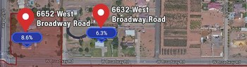 Image C: The address on the right (6632 West Broadway Road) is outside the city limits and has a lower sales tax rate.   TTR's Rooftop Rates does not use ZIP+4, so it does not make this mistake. Instead, it relies on proprietary custom-drawn maps.  With TTR's Rooftops Rates, the sales tax rate would appear as follows.