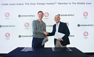 Kai Simon, Head of PR for Design Hotels is on the left and Tarek M. Daouk Managing Partner of Smarthotels Hospitality and CEO of FORM Hotel Dubai is on the right. (PRNewsfoto/FORM Hotel)