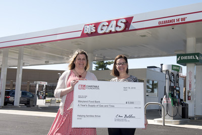 Anna D'Addario, General Manager, BJ's Wholesale Club in Columbia, Md., right, presents a donation of a year's supply of gas and tires from  the BJ's Charitable Foundation to Amy Chase, Director of Corporate Relations, Maryland Food Bank, left, on Thursday, April 19, 2018 in Columbia, Md. to celebrate the opening of the newest BJ's Gas location.