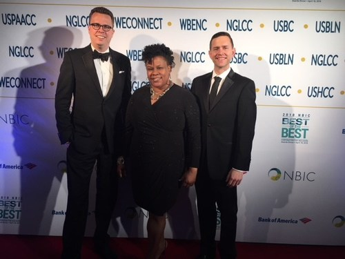 Members of the Bayer team accepted the honor of 2018 NBIC Best-of-the-Best Corporation for Inclusion at a dinner gala in Washington, D.C. on April 18. Pictured from left to right: Dirk Pott, VP, Head of US Procurement for Bayer; Chorlana Francis, head of Bayer's Diversity & Inclusion; and Jared Worful, Associate Director, Oncology Strategy and Business Operations at Bayer.
