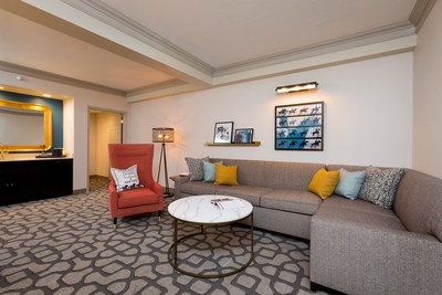 A Galt House Hotel model room suite, inspired by the colors of Kentucky