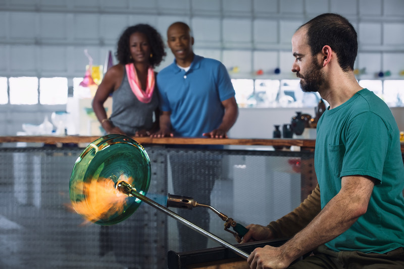 Asheville-area glass artists and studios will celebrate the Summer of Glass May through October with VIP glass experiences, exhibitions and hands-on events. The event, inspired by an expansive Chihuly exhibition at Biltmore and the region's direct connections to the American roots of studio glass art, is the collaboration of more than 60 participants, including artists, studios, galleries, educational institutions and tour operators. (Photo courtesy of ExploreAsheville.com)