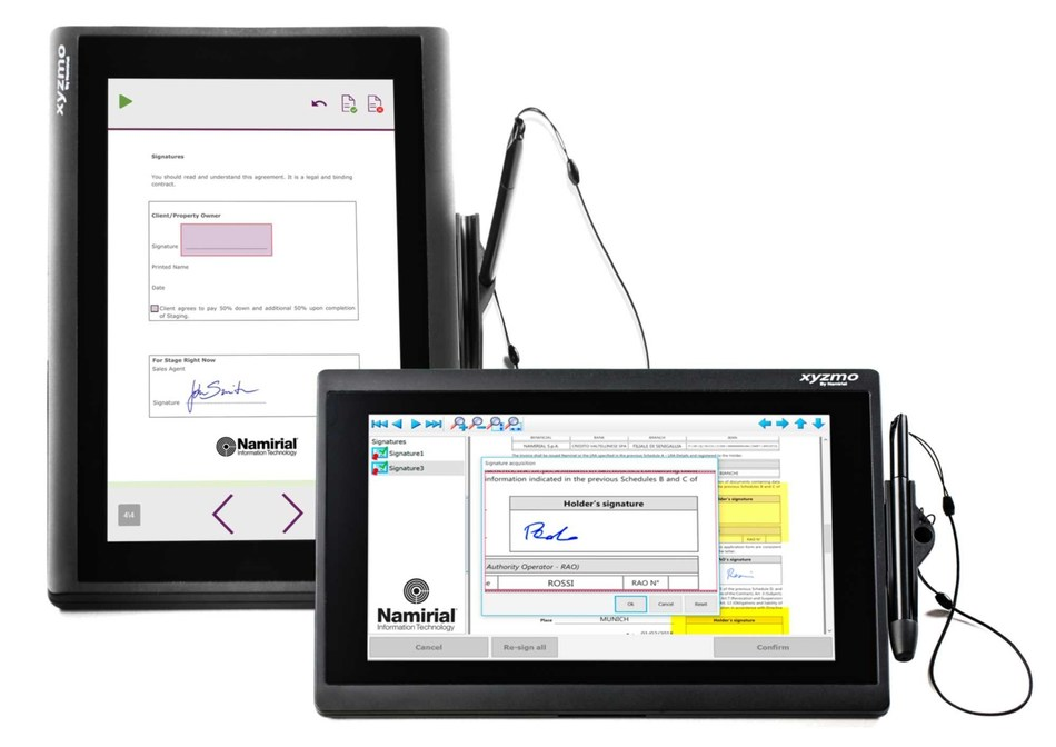 Namirial signature pad NT 10011 in horizontal and vertical orientation - flexible positioning in all POS environments (PRNewsfoto/Namirial)