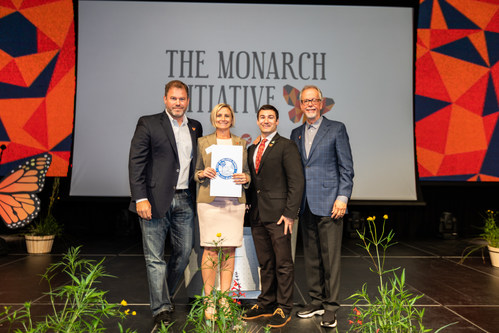 Launch of The Monarch Initiative at Full Sail University. Pictured: Winter Park Mayor Steve Leary, The Nature Conservancy Florida Executive Director Temperince Morgan, City of Orlando Director of Sustainability Chris Castro, Full Sail University President Garry Jones