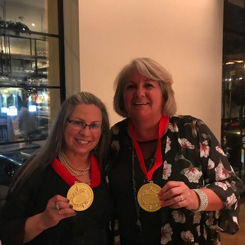 Wine Road podcast hosts Marcy Gordan (L) and Beth Costa (R) were on hand in Los Angeles to accept the Tasty Award for Best Food or Drink Podcast.