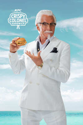 KFC pairs their new Crispy Colonel sandwich with famously sun-crisped George Hamilton to launch the latest menu item.