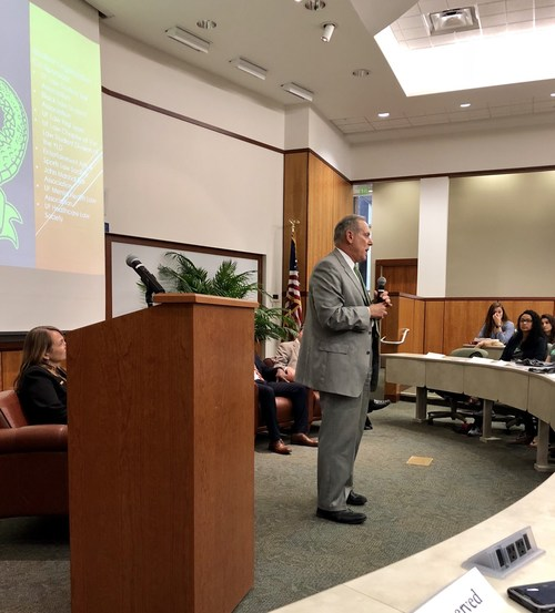 His presentation was part of an April 10 event at The University of Florida Levin College of Law. Photo by Rene Thompson.