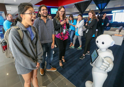 Students react to Pepper, one of C Spire's humanoid robots, during the company's 2017 technology showcase on the Ole Miss campus in Oxford, Miss.  The day-long 2018 MVMT conference is set for May 8 at the Jackson, Miss. Convention Complex and will feature the latest trends and innovations in technology.