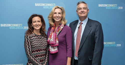 Executive Director of Babson's Institute for Family Entrepreneurship Lauri Union, Babson College President Kerry Healey, and Bertarelli Foundation Distinguished Professor of Family Entrepreneurship William Gartner at Babson Connect: Worldwide in Madrid, Spain, April 20, 2018
