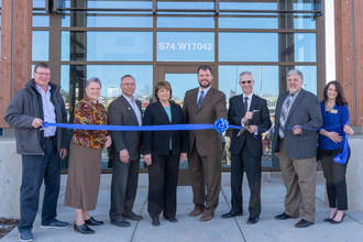 Landmark Credit Union celebrates the opening of their new branch in Muskego, WI, April 19. L-R: Steven LaBelle, Muskego Chamber member; Krisann Durnford, Executive Director, Muskego Area Chamber of Commerce; Chuck Wichgers, State Representative; Kathy Chiaverotti, Mayor, City of Muskego; Eric Kase, COO, Landmark Credit Union; Jay Magulski, President and CEO, Landmark Credit Union; Bob Bruemmer, Executive VP, Landmark Credit Union; Lana Arrowood, Muskego Chamber member.