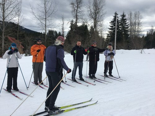 Injured veterans and their guests enjoy an extended ski season by skiing cross-country with Wounded Warrior Project® (WWP).
