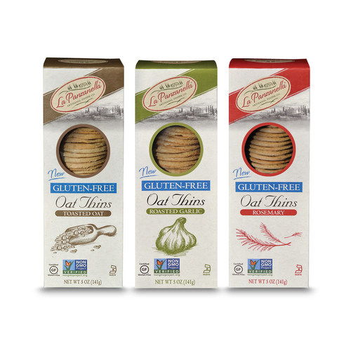 La Panzanella launches Gluten-Free Oat Thins crackers. New gourmet crackers come in three popular flavors including Toasted Oat, Rosemary and Roasted Garlic.
