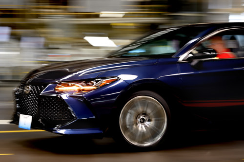 """The fifth generation Avalon races off the assembly line at Toyota Motor Manufacturing, Kentucky in Georgetown. Production of the all-new 2019 model is now underway on the Toyota New Global Architecture (TNGA) platform, representing the """"future of Toyota manufacturing"""""""