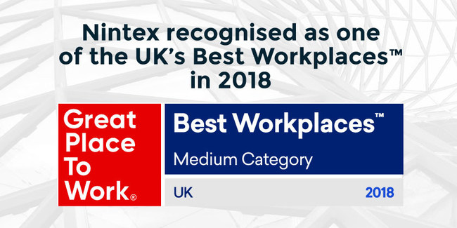 Nintex, the world's leader in intelligent process automation (IPA), has been named to the UK's Best Workplaces™ ranking by Great Place to Work®. Nintex offers competitive salaries, flexible working environments, and generous employee benefits. The company has a solid track record of winning awards for culture and innovative IPA technology, including its cloud-first platform Nintex Workflow Cloud.
