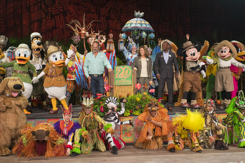 (April 22, 2018): Disney's Animal Kingdom in Lake Buena Vista, Fla., marks its 20th anniversary today, on Earth Day, April 22, 2018. A special celebration commemorated the day with Disney characters, entertainers and executives. Over the years, the theme park has grown to include new attractions, animal conservation programs, and day and nighttime experiences such as Pandora – The World of Avatar. Guests who have visited Disney's Animal Kingdom have also helped the Disney Conservation Fund direct more than $70 million to reverse the decline of wildlife in more than half the countries around the world. Disney's Animal Kingdom opened at Walt Disney World Resort on April 22, 1998. (David Roark, photographer)