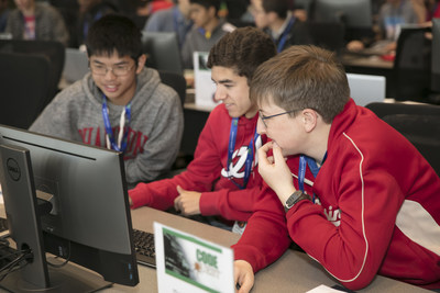 Students worked in teams to solve coding challenges during Lockheed Martin Code Quest.