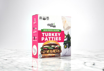 Mighty Spark Food Co.'s Queso Fresco & Jalapeño Turkey Patties. Premium turkey blended with huge chunks of queso fresco and fresh jalapeños for just the right amount of heat.