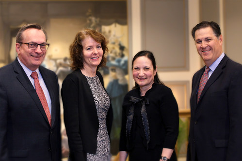 Inaugural ECFMG-FAIMER Stakeholder Engagement Forum Guests, from left: Richard Hawkins, MD, ABMS; Alison Whelan, MD, AAMC; Mellie Pouwels, MA, AMA; Scott Steingard, DO, FSMB