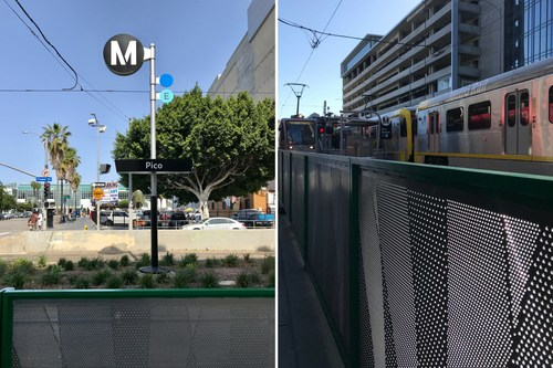 New sign, landscaping, and fencing at Pico Metro Station in South Park, Los Angeles.