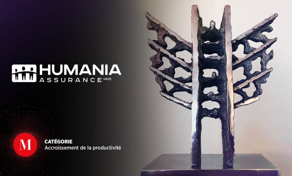 """Humania Assurance Inc. is very proud to announce it won the prestigious Award """"Productivity Improvement – SME"""" of Quebec's most prestigious business contest: the Mercuriades Awards 2018. (CNW Group/Humania Assurance)"""