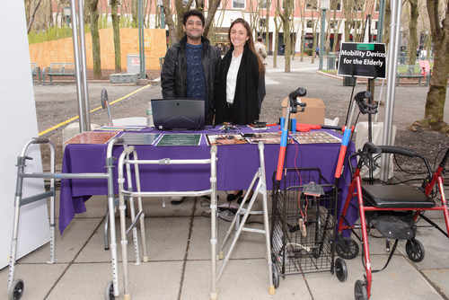 The Research Expo, to be held Friday afternoon, April 27, on the commons of MetroTech Center in Downtown Brooklyn, exhibits the strongest research produced by every academic department of the NYU Tandon School of Engineering. One of the 2017 highlights were mobility devices for the elderly, a Design for America project demonstrated by Rodney Lobo '17 (M.S. industrial engineering) and Dawn Feldthouse '17 (M.S. NYU Langone Healthcare Informatics). The Expo is free and open to the public.