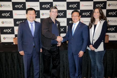 Pictured left to right: Jung Seo, CEO CJ CGV, Mooky Greidinger, CEO, Cineworld Group, Byung Hwan Choi, CEO CJ4DPLEX, Renana Teperberg, CCO, Cineworld Group.