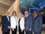 Vincent Crisanti, Toronto City Councillor, Annick Guérard, Chief Operating  Officer, Transat, Bonnie Crombie, Mayor of Mississauga, Jean-Marc Eustache, President and CEO, Transat, Michael Thompson, Toronto City Councillor (CNW Group/Transat A.T. Inc.)