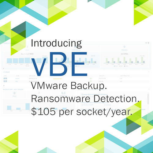 vBE converges enterprise-grade virtual backup software, ransomware detection, and fully integrated cloud storage options.