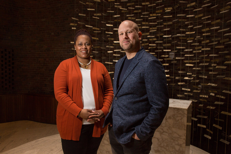 Humanist Chaplain Greg Epstein and Director of Religious Life Reverend Kristen Boswell Ford inside of the MIT Chapel, a non-denominational chapel located on the campus of the Massachusetts Institute of Technology.