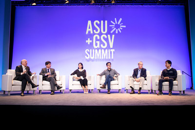 From left to right: Adi Ignatius, chief editor of the Harvard Business Review, He Qingrong, vice CEO of CFCG, Li Mei, Dean of Entrepreneurship and Management at the Shanghai Tech University, Huang Yan, CTO of TAL, Rick Levin, the former president of Yale University, Xiao Dun, co-founder of 17zuoye.