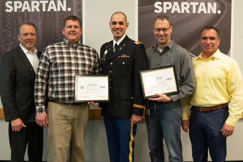 Left to right: Daryl Adams, President and CEO; Doug Worden, Engineering Group Leader; Dave Strange, Engineer and Company Commander for United States Army Reserve; Johann Eloff, Chief Engineer; and Tony Pashigian, Corporate Vice President of Engineering.