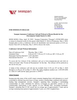 Seaspan Announces Conference Call and Webcast to Discuss Results for the First Quarter Ended March 31, 2018 (CNW Group/Seaspan Corporation)
