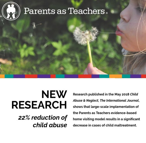 Parents as Teachers home visiting model reduces child abuse by 22 percent.
