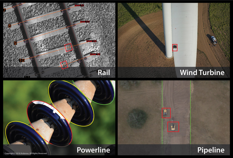 Ardenna's solutions enable intelligent automation of infrastructure inspections to provide insightful and actionable data more quickly and accurately than human reviewers. Examples shown include anomaly detection for rail, wind turbine, powerline and pipeline.
