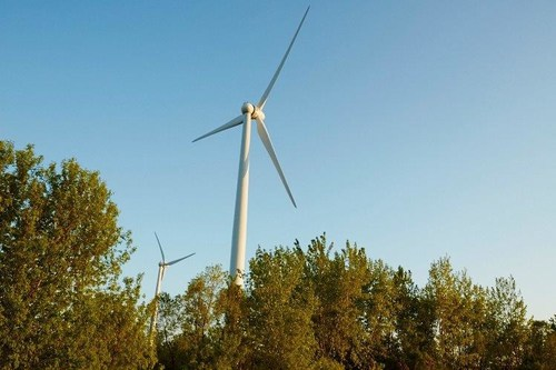 Wind turbines at SC Johnson's Waxdale manufacturing facility in Mount Pleasant, Wisconsin. Photo courtesy SC Johnson