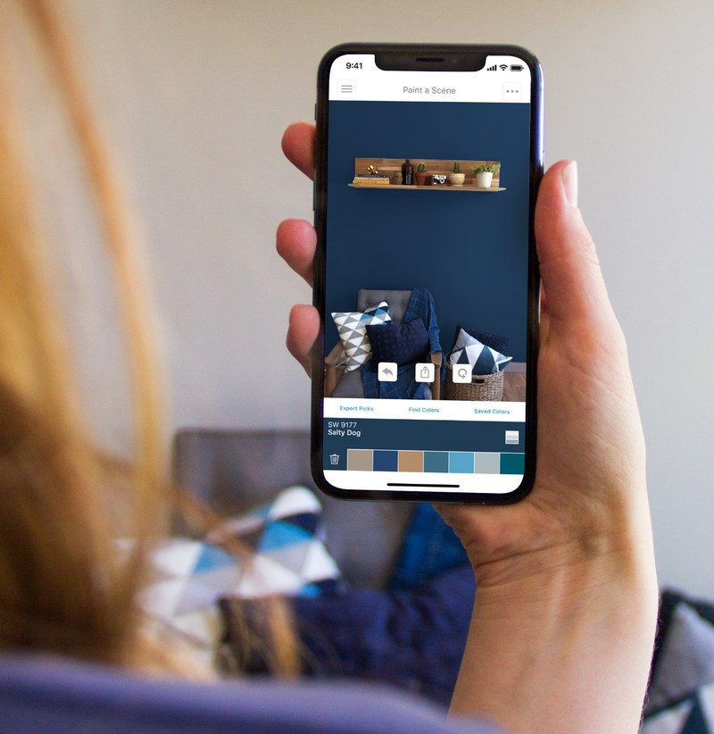 visualize paint colors on any wall in real time with new augmented reality feature from sherwin. Black Bedroom Furniture Sets. Home Design Ideas