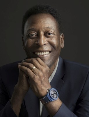 Hublot Ambassador Pelé wearing the Classic Fusion Chronograph UEFA Champions League