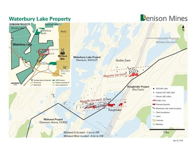 Figure 1: Location of summer 2017 drill collars on Denison's Waterbury Lake project. (CNW Group/Denison Mines Inc.)