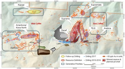 Figure 12: Coffee Project drilling location map and planned future mine infrastructure.  Drill collars highlighting drilling completed in 2017. (CNW Group/Goldcorp Inc.)