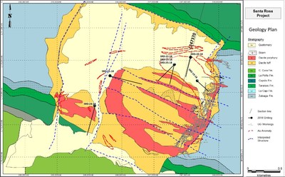 Figure 5:  Santa Rosa geology map with 2018 drill hole traces. (CNW Group/Goldcorp Inc.)