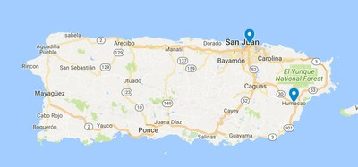 Locations of the first two of five total medical marijuana dispensaries that FFPR plans to open in Puerto Rico.
