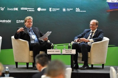 Mr Nicolas Sartini, CEO of APL (right) during his Fireside Chat session with Marcus Hand, Editor of Seatrade Maritime News (PRNewsfoto/Seatrade Communications)