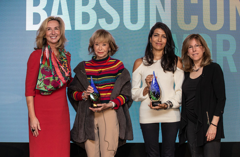 From left: Babson College President Kerry Healey, María Teresa Fernández de la Vega, Leila Janah, Cheryl Kiser, Executive Director of the Lewis Institute.