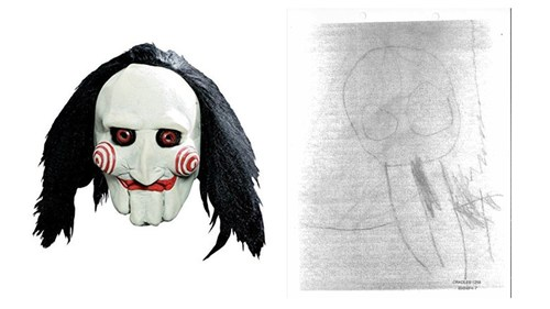 A side-by-side of the assaulted child's drawing next to a similar Jigsaw mask the family alleges he and other children at the Cradles to Crayons daycare were terrorized with.